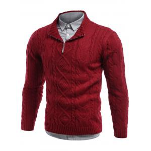 Cable Knit Stand Collar Half Zip Sweater