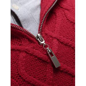 Stand Collar Cable Knit Half Zip Sweater - RED 2XL