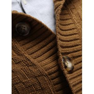 Stand Collar Button Front Basket Weave Cardigan -