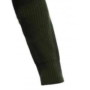 Flat Knitted Pullover Toggle Sweater - GREEN 2XL