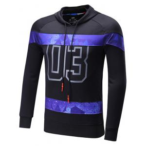 Starry Sky Spliced Number Print Raglan Sleeve Sports Hoodie