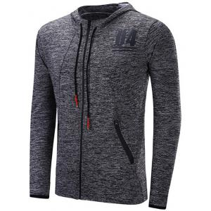 Zipper Design Number Print Raglan Sleeve Sports Hoodie