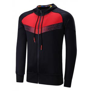 Zipper Design Color Block Spliced Raglan Sleeve Sports Hoodie