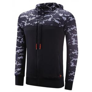 Reversible Style Zipper Design Camouflage Spliced Raglan Sleeve Sports Hoodie
