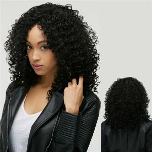 Medium Afro Curly Oblique Bang Synthetic Wig