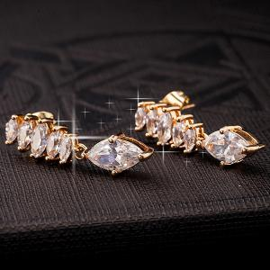 Water Drop Rhinestone Dangle Earrings -