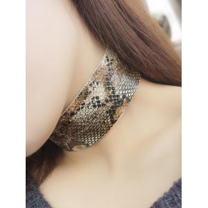 Faux Snakeskin PU Wide Choker Necklace