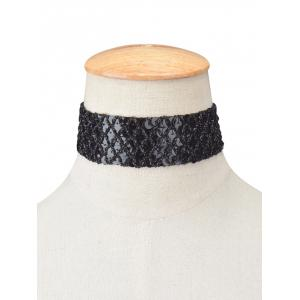 Fish Scales Sequins Elasticity Choker - BLACK
