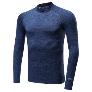 Roll Neck Quick Dry Raglan Sleeve Fitness T-Shirt - Deep Blue - Xl
