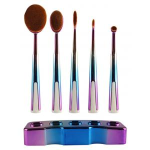 5 Pcs Ombre Toothbrush Shape Makeup Brushes Set with Holder -