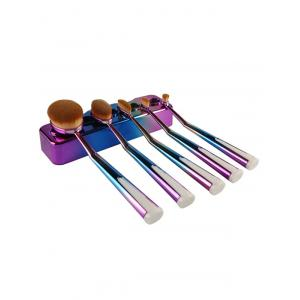 5 Pcs Ombre Toothbrush Shape Makeup Brushes Set with Holder - BLUE