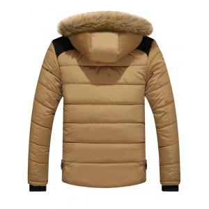 Faux Fur Collar Hooded Plus Size Zip Up Thicken Quilted Jacket -