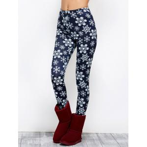 Snowflake Print Stretchy Christmas Leggings - PURPLISH BLUE L
