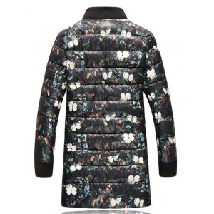 Stand Collar Flowers Print Plus Size Thicken Lengthen Quilted Coat -