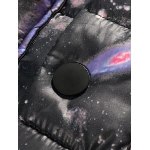 Plus Size Colorful Starry Sky Print Thicken Lengthen Quilted Coat -