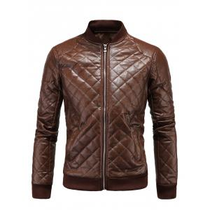 Stand Collar Argyle Zip Up PU Leather Jacket