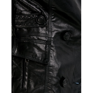 Double Breasted Faux Leather Jacket -