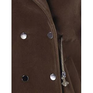 Drawstring Double Breasted Lapel Coat -