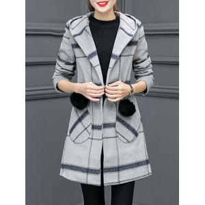 Grid Drawstring Wool Blend Hooded Coat