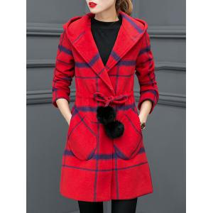 Grid Drawstring Wool Blend Hooded Coat - Red - M