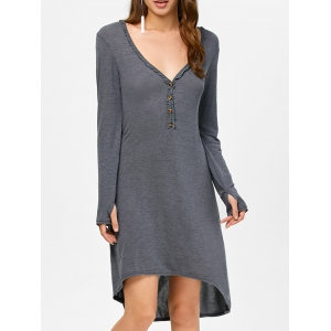 Asymmetrical Long Sleeve Deep V Midi Dress - Deep Gray - S
