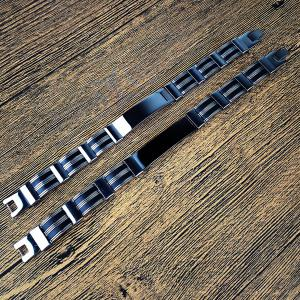 Stainless Steel Silicon Link Chain Bracelet -
