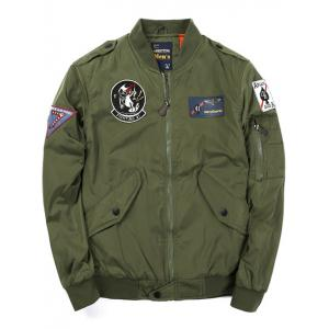 Badge Patched Zip Up Bomber Jacket - Army Green - Xl