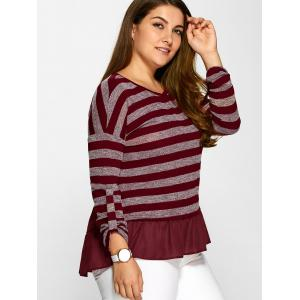 Bowknot Decorated Striped Flounced T-Shirt -