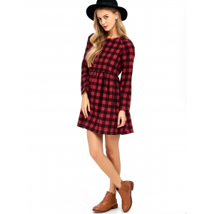 High Waist Plaid Dress - CHECKED M