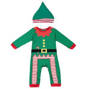 Merry Christmas Baby Jumpsuit Clothes Set - Green - S