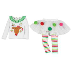 Christmas Elk Pattern Girl Culotte Costume Set - WHITE XS