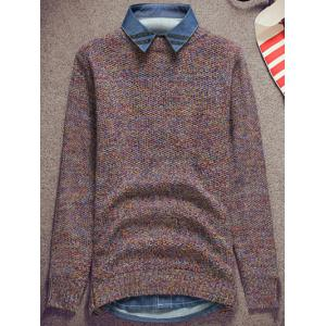 Knit Crew Neck Pullover Sweater - COLORMIX XL