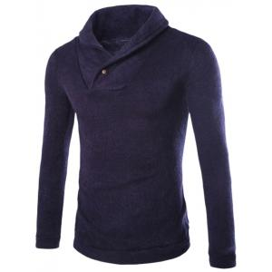 Shawl Collar Pullover Sweater - Cadetblue - M