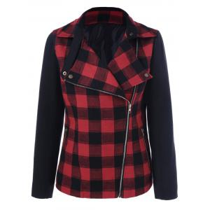 Inclined Zip Plaid Jacket