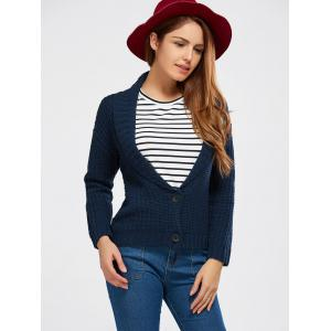 Buttoned Shawl Collar Chunky Sweater -