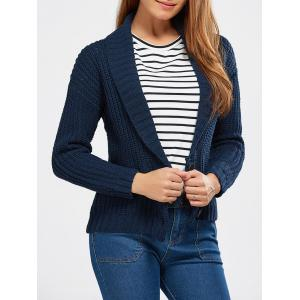 Buttoned Shawl Collar Chunky Sweater - Deep Blue - One Size