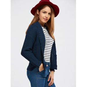 Buttoned Shawl Collar Chunky Sweater - DEEP BLUE ONE SIZE