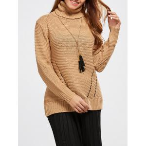 Hollow Out Pullover Roll Neck Sweater