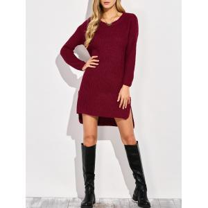 High-Low Slit Sweater Dress - Wine Red - One Size
