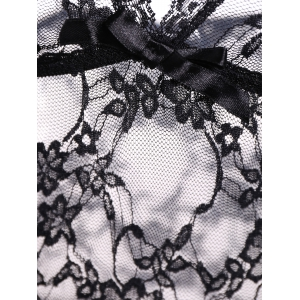 See Through Floral Lace Babydoll with Briefs - BLACK ONE SIZE