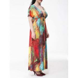 Plus Size Colorful Short Sleeve Empire Waist Maxi Dress - COLORMIX 6XL