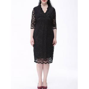 Floral Lace Plus Size Sheath Dress