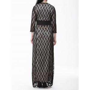 Plus Size Formal Lace Maxi Dress with Sleeves - WHITE/BLACK 6XL