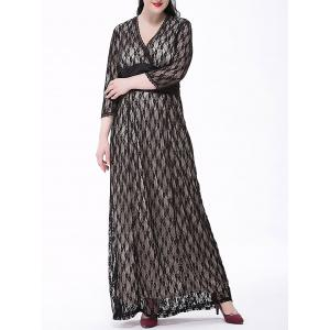 Plus Size Long Formal Party Lace Maxi Dress with Sleeves - White And Black - 2xl