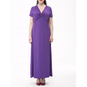 Plus Size Empire Waist Knotted Maxi Plain From Dress -