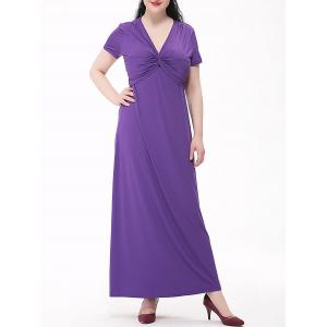Plus Size Empire Waist Knotted Maxi V Neck Dress