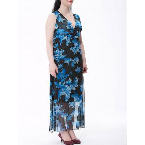 Plus Size Chiffon Flower Print Maxi Dress -