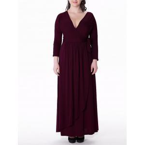 Plus Size Long Sleeve Maxi Formal Dress - WINE RED 6XL
