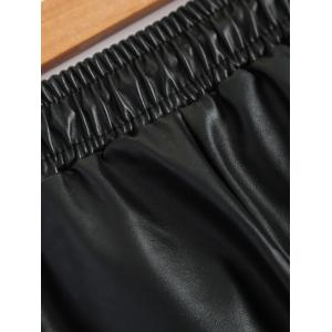 Plus Size Drawstring PU Leather Tapered Pants -