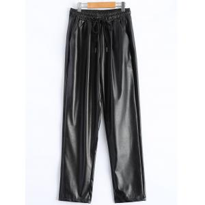 Plus Size Drawstring PU Leather Tapered Pants